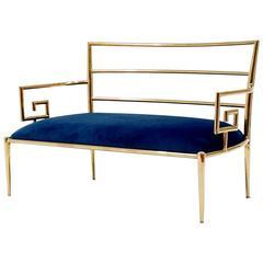 Hollywood Regency Brass Greek Key and Blue Velvet Settee Sofa