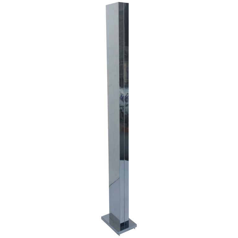 this polish stainless steel pylon torchiere floor lamp by casella is. Black Bedroom Furniture Sets. Home Design Ideas