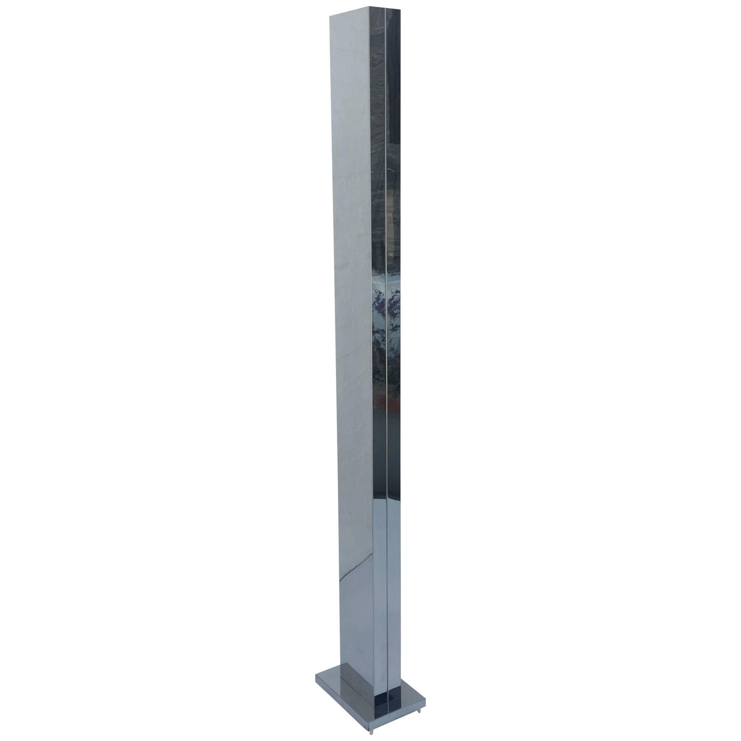 polish stainless steel pylon torchiere floor lamp by casella at. Black Bedroom Furniture Sets. Home Design Ideas
