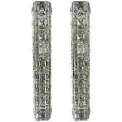 Pair of Italian Faceted Crystals Rectangular Sconces