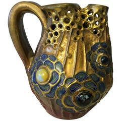 Riessner & Kessel Amphora Glass Jeweled, Gres Bijou Series Pitcher, circa 1904