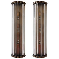 Pair of Italian Long Crystal Bars Sconces