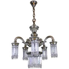 Neoclassical Silver Plate Crystal Chandelier