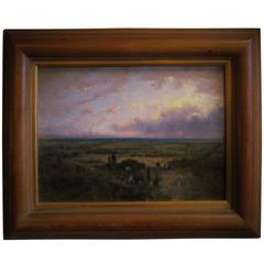 George Inness II Oil on Panel Coastal Plain at Sunrise