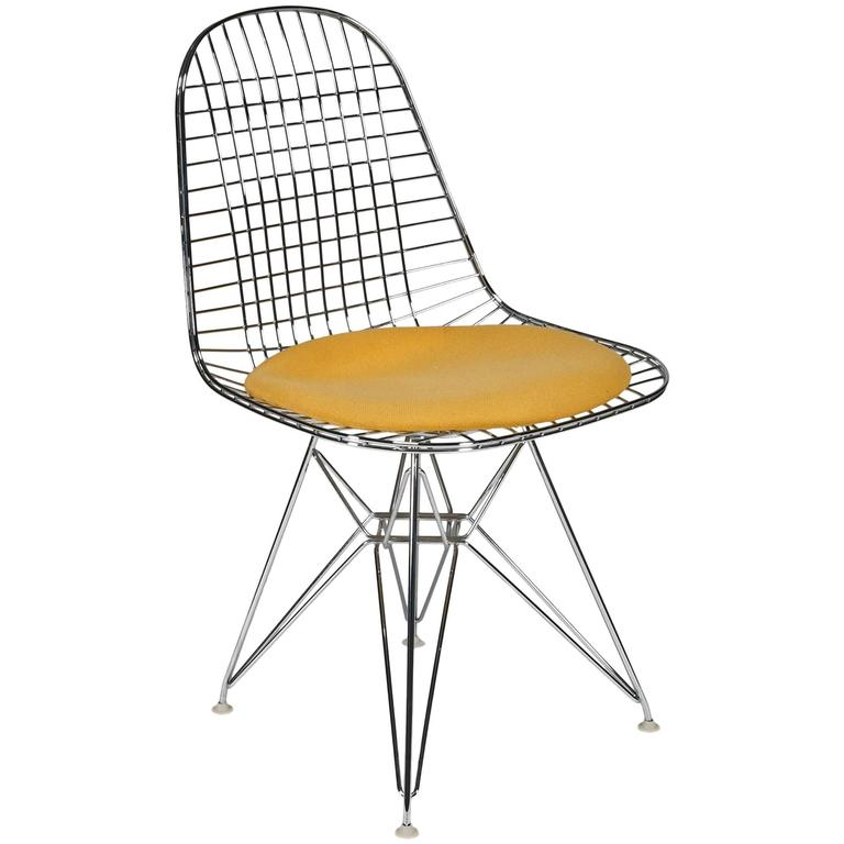 Wire Side Chair 'DKR' with Seat Cushion by Charles and Ray Eames 1