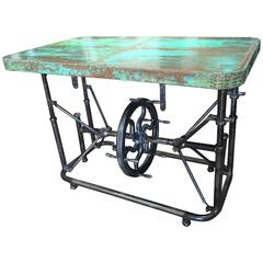 Unusual Industrial Steel Table with Patinated Copper Top