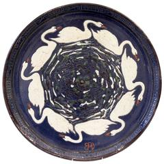 Rare Sandstone Enameled Dish by Paul Jacquet with a Decor of Swans, circa 1915