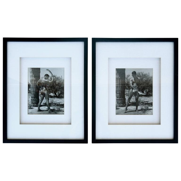 Rare Matched Pair of Bruce Bellas Male Physique Vintage Palm Springs Photographs For Sale