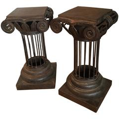 Pair of Arturo Pani Iron Column Side Tables