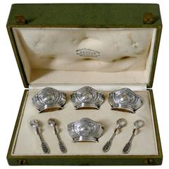 Puiforcat French Sterling Silver 18-Karat Gold Set 4 Salt Cellars Spoons, Box