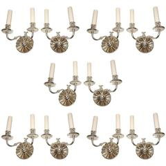 Set of Ten Mirrored Back Sconces