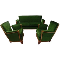 "Art Deco Green Velours Three-Seat Sofa with Two Armchairs ""Merkt"""