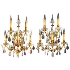 Pair of Great Louis XV Style Gilt Bronze Sconces from 1880