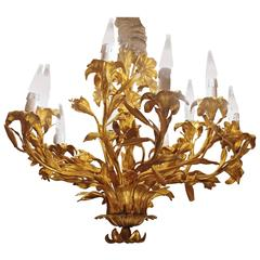 Louis XV Style Lily Gilt Bronze Chandelier