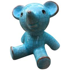 Charming Teddy Bear Blue Glazed Ceramic, Mid-Century Modern, 1950s