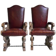 1940 Pair of Side Chairs Chalked Oak and Red Leather