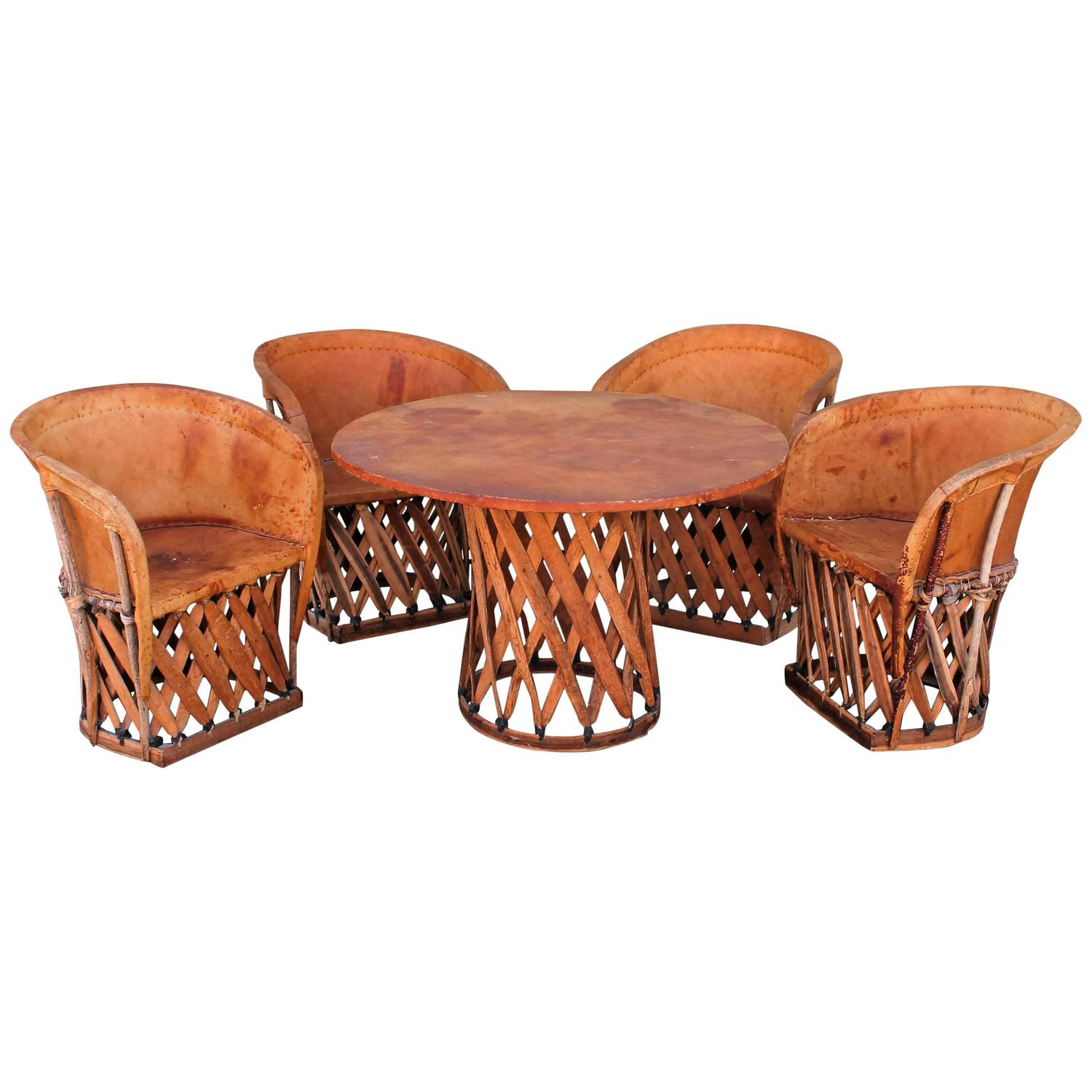 1930s Equipale Table And Chairs From Guadalajara, Mexico At 1stdibs