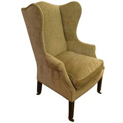 Lovely Antique 19th Century Chippendale Wing Chair in Sage Velvet