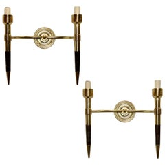 Pair of Wood and Brass Sconces