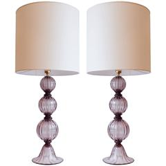 Pair of Murano Amethyst Tassel Lamps