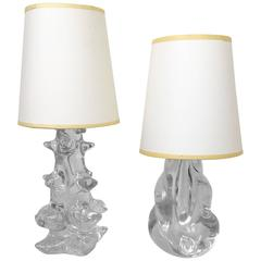 Set of Two Schneider, France Crystal Lamps, Signed