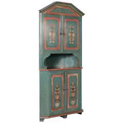 Antique Swedish Original Green Painted Corner Cabinet with Flowers, circa 1840