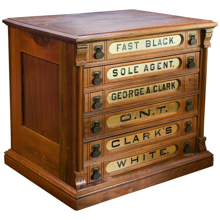 Antique Clark's Six-Drawer Spool Cabinet For Sale - Antique Clark's Six-Drawer Spool Cabinet At 1stdibs
