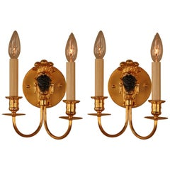 Pair of Doré Bronze Wall Sconces by Maison Baguès