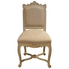 Antique Painted Chair, Rococo Style, Ornate Carved Legs, Newly Upholstered