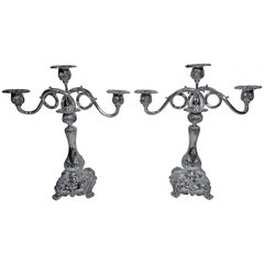 Pair of Sumptuous Tiffany Sterling Silver Three-Light Candelabra