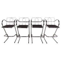 Set of Four Modern Barstools Tubular Chrome