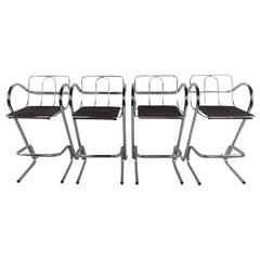 Set of Four Modern Barstools Tubular Chrome