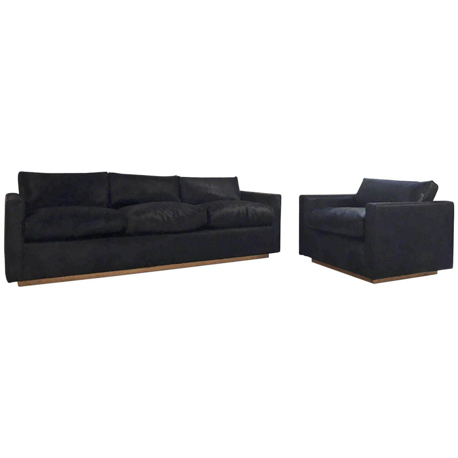 One of a kind midcentury sofa and chair in natural black brazilian cowhide at 1stdibs - Brazilian mid century modern furniture ...