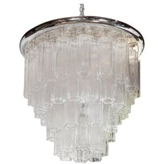 Italian Tronchi Chandelier with Chrome Disk