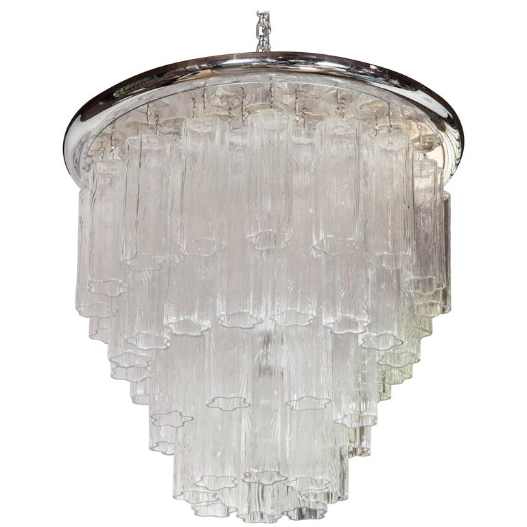 Italian Tronchi Chandelier with Chrome Disk For Sale