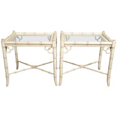 Pair of Ficks Reed Faux Bamboo Side Tables
