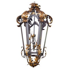Black and Gilt Wrought Iron French Lantern