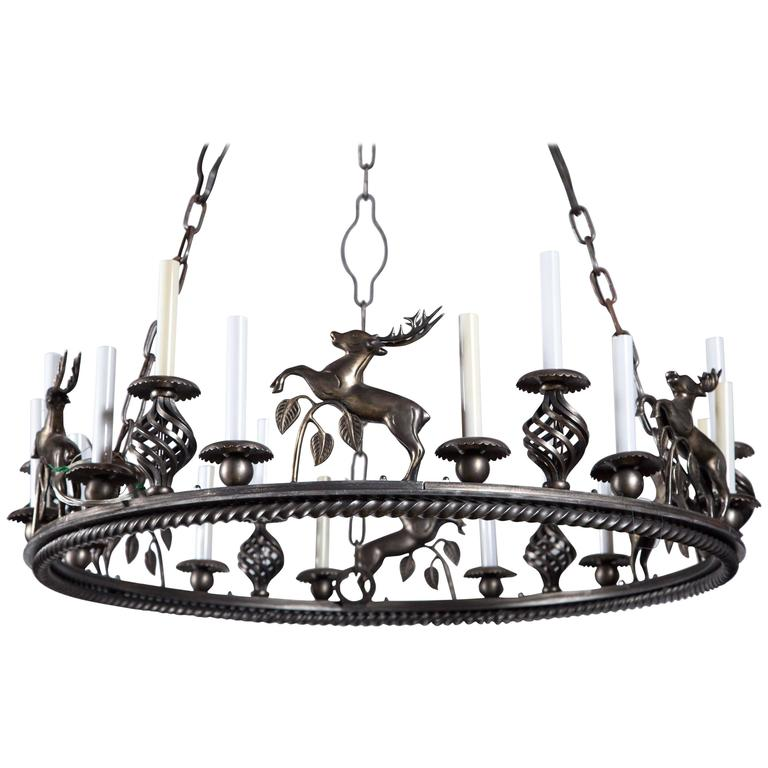 Large Custom-Made Leaping Stag Chandelier For Sale
