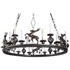 Large Custom-Made Leaping Stag Chandelier