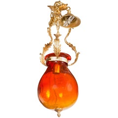 Italian Orange Glass Bell Jar Lantern