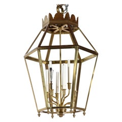 Large Hexagonal Brass Lantern