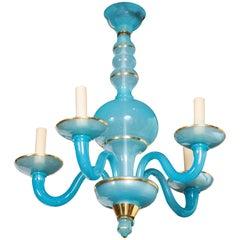 Turquoise Blue Opaline Chandelier
