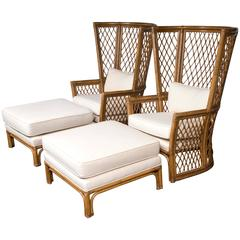 Pair High Back Bamboo Chairs with Ottomans