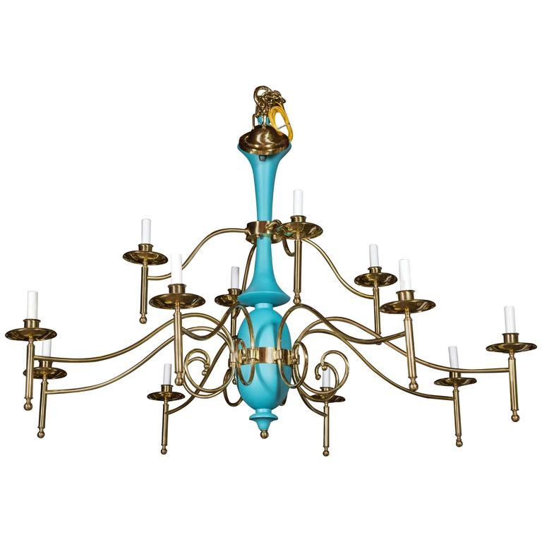 Large Department Store Chandelier, Robin's Egg Blue and Brass