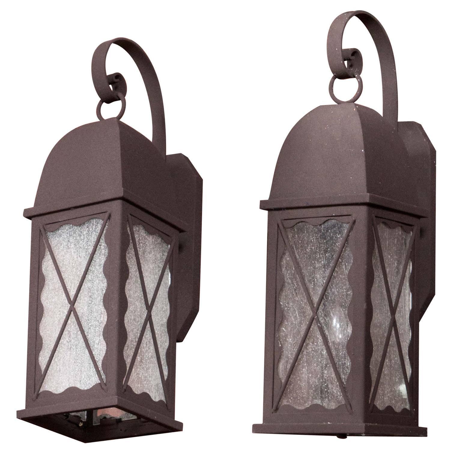 Pair of Iron Exterior Lantern Sconces