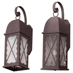 Pair of Iron Exterior Lantern Sconces