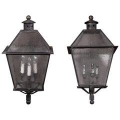 Pair of Large Iron Exterior Lanterns