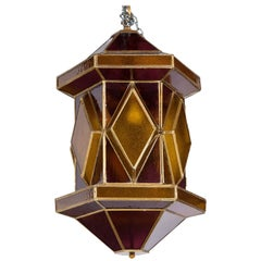 Large Amethyst and Gold Glass Moroccan Lantern