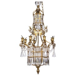 19th Century Crystal and Bronze Chandelier, Pagoda Style