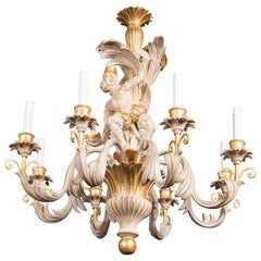 Italian Carved Wood Monkey Chandelier
